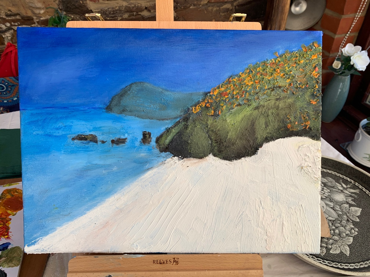White Beach Oil Painting
